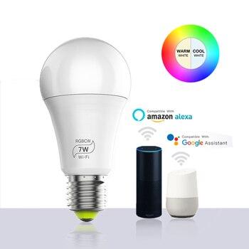 Magic 7W E27 RGB WIFI Led Smart Bulb Light Wireless Smart Home Automation Lamp , 85-265V bulb Compatible with ALexa Google Home 2pcs lot cdebyte e18 ms1 ipx spi smd 2 4ghz cc2530 wireless zigbee smart home automation module