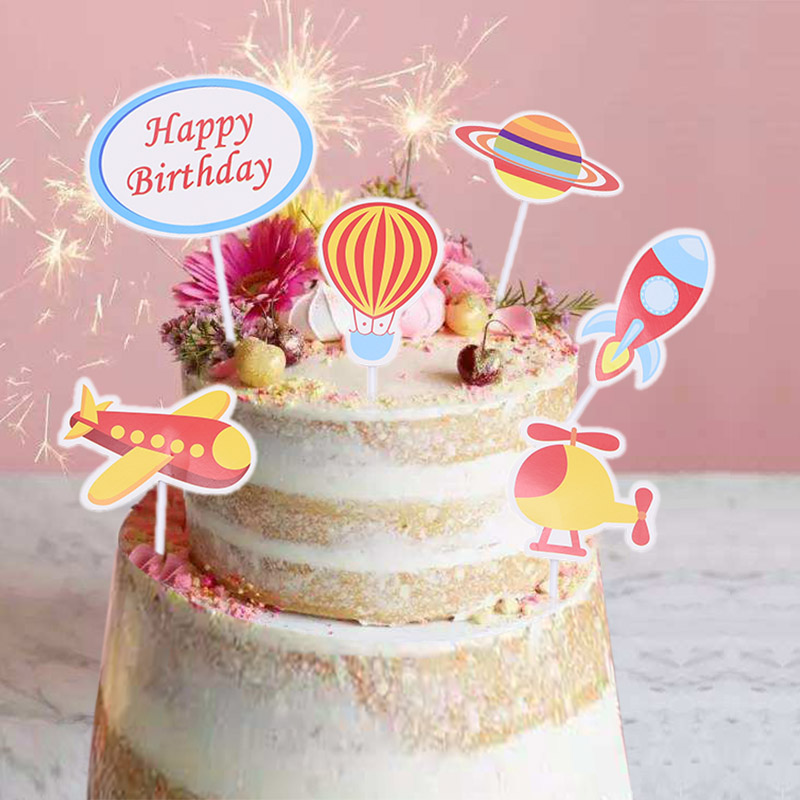 Outstanding Happy Birthday Cake Cupcake Topper Airship Outer Space Theme Funny Birthday Cards Online Sheoxdamsfinfo