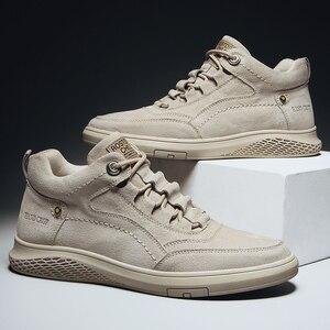 Image 4 - Chaussures de sport pour hommes, en cuir véritable, chaussures de sport en caoutchouc, plate, de haute qualité, chaussures décontractées, hiver, à la mode, à lacets