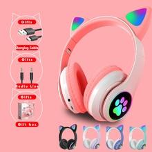 Spedizione gratuita Cat Ear caschi cuffie senza fili bluetooth cuffie senza fili Bluetooth casco LED Kid Girl musica cuffie regali