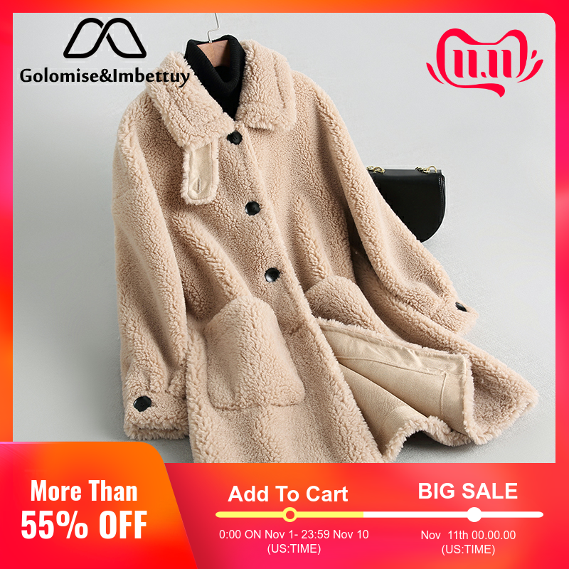 Golomise&Imbettuy Real/Genuine Composite Shearling Lamb Fur Coat Women Wool Fur Coat with Faux Suede Leather Liner