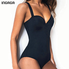 INGAGA Sexy One Piece Swimsuit Push Up Swimwear Women Solid Bathing Suits Summer Beachwear New 2019 Swimsuits