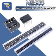 20 pces, (10 cada) ne555 ne555p ic 555 temporizador programação oscilador chip & 8 pinos soquetes mergulho