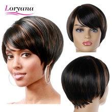 Loryana cabelo sintético preto marrom realista natural oblíquo franja reta natural curto perucas de cabelo sintético para mulher