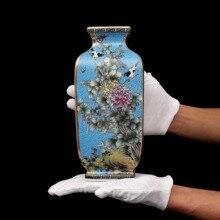 Qing Dynasty Qianlong Enamel Painting Golden Square Flower and Bird Vases Antique Porcelain Antique Porcelain Antique Porcelain