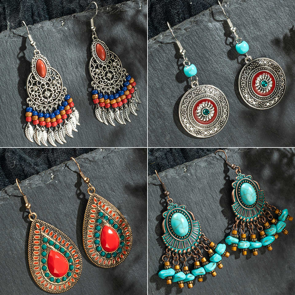 Multiple Vintage Ethnic Boho Dangle Drop Earrings Gifts for Women Female Anniversary Bridal Party Wedding Wholesale Jewelry