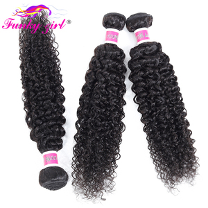 Image 3 - Funky Girl Malaysia Kinky Curly Hair 3 or 4 Bundles with Closure Free Part Human Hair Weave Bundles With Closure Non Remy Hair
