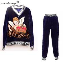 Design de luxo primavera outono estilo celebridade pista bordado calças terno blusa solta magro carta veludo duas peças conjunto