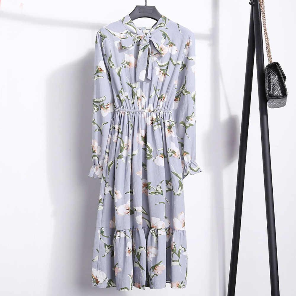 נשים של מנוקדת מודפס Fit ואבוקת שמלה קוריאני סגנון סתיו ארוך שרוול תחרה עד קפלים הברך אורך מסיבת שמלות WDC5864