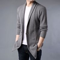 Knitted Homme Coat Men Cardigan Sweatercoat Solid Color Slim Male Coat Jacket Sweater Casual Single Button Knit Sweater coat