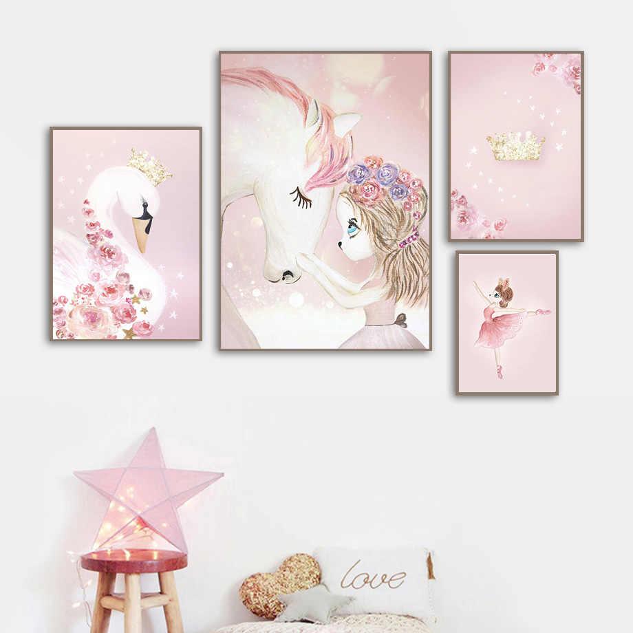 Dibujos Animados niña unicornio caballo Cisne flor corona pared arte lienzo pintura carteles nórdicos e impresiones pared cuadros niños habitación Decoración
