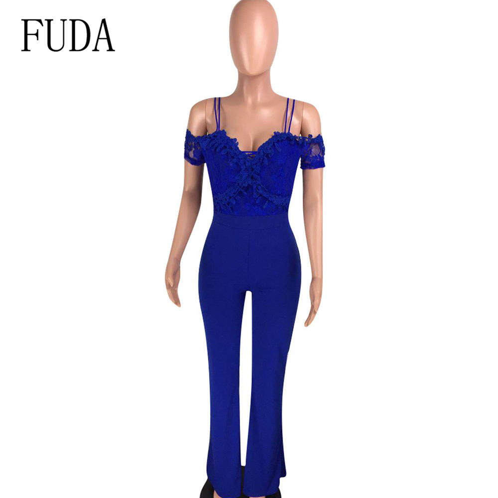 FUDA Fashion Casual Sexy Lace Applique Jumpsuits New Arrival Women Spaghetti Strap Sleeveless Hollow Out Playsuits Plus Size XXL in Jumpsuits from Women 39 s Clothing