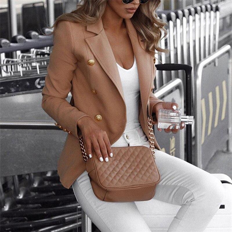 Fashion Women Office Lady Button Slim Long Sleeve Blazer Elegant Ladies Autumn OL Veste Femme Business Top Plus Size Streetwear