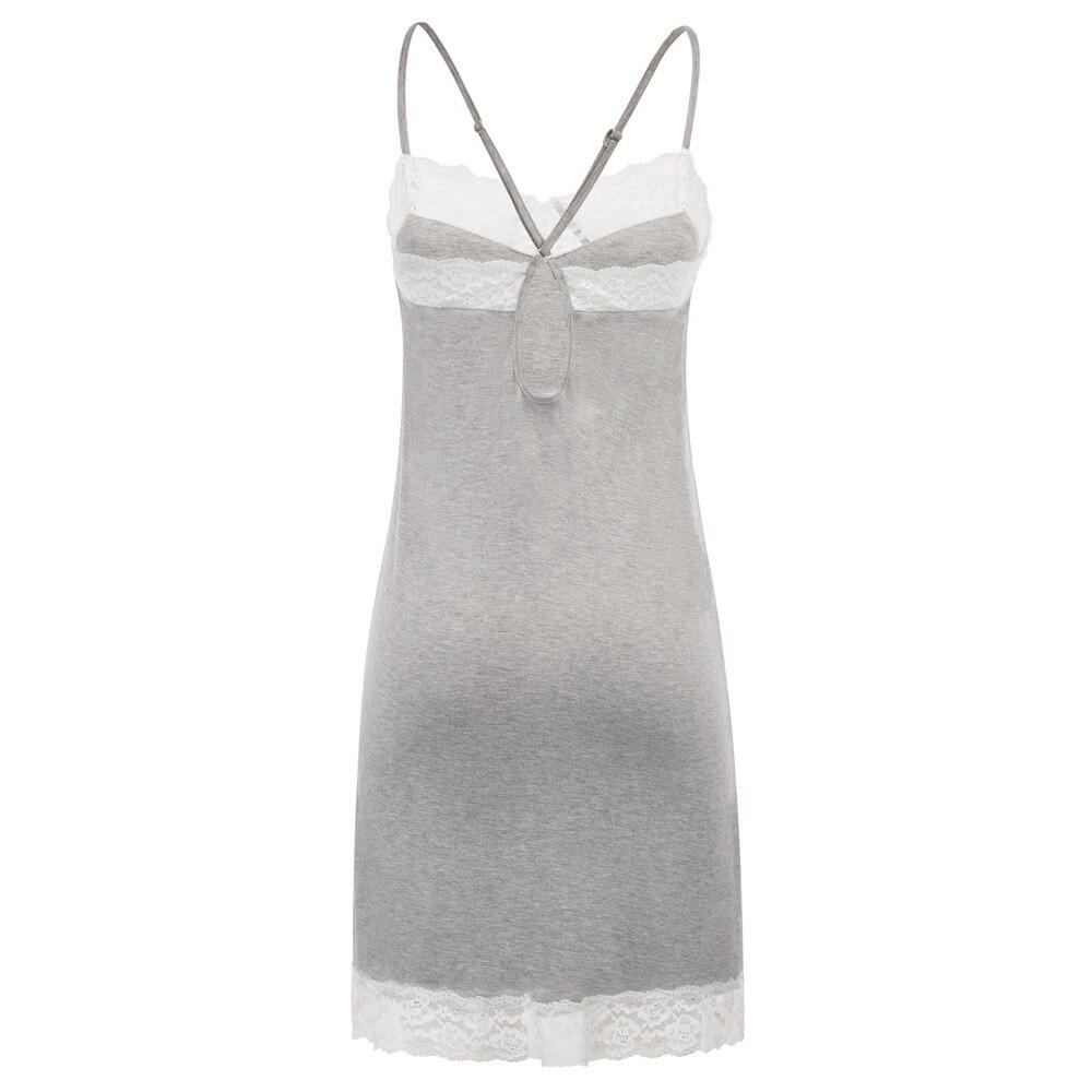 Women Nightdress Summer Comfy Spaghetti Straps Lace Trimmed Sexy Sleep Dress Sleepwear   Nightgown   Ladies   Sleepshirts