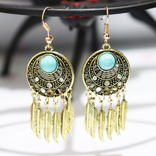 Tisonliz Vintage Ethnic Gold Silver Leaf Blue Stone Tassel Dangle Drop Earrings Long Hanging Earrings for Women Female Fashion Anniversary Jewelry Ornaments Accessories Party Gifts(China)