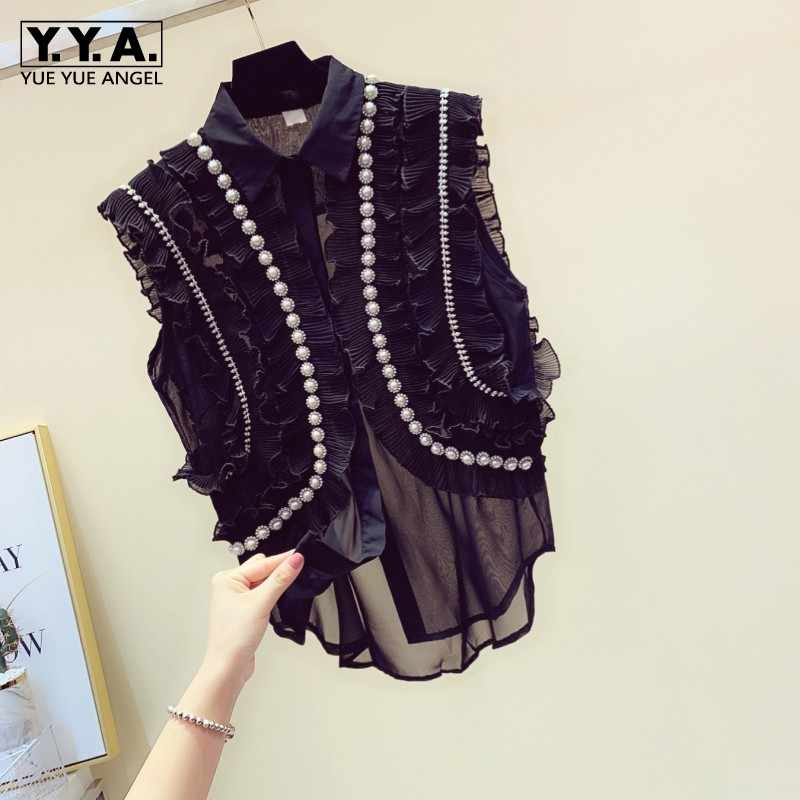 Fashion Kralen Diamonds Chiffon Shirts Vrouwen 2020 Zomer Losse Vintage Mouwloze Blouse Ruffle Office Lady Wit Vest Tops