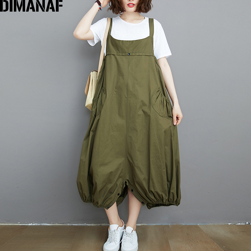 DIMANAF Plus Size Jumpsuits Pants Women Clothing Summer Big Size Cotton Trousers Pocket Sleeveless Lady Loose Solid Long Pants