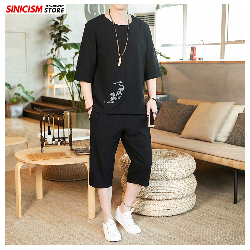 Sinicism Store Linen Summer Tracksuit Men 2020 Men Loose Embroidery Suit Sets Male Casual Pants Chinese Style Oversize T Shirt