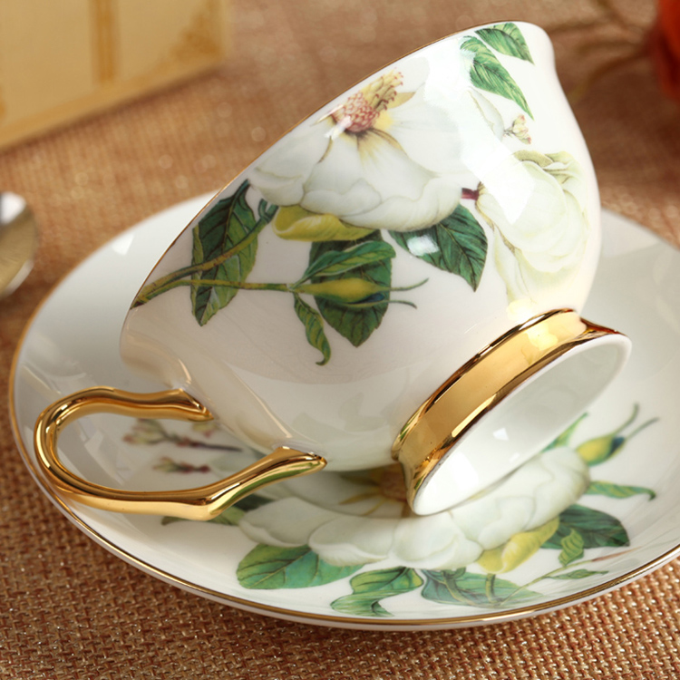 Classic Bone China Coffee Tea Cups & Saucers Fine Porcelain Teaware Floral Pattern Ceramic Drinkware Fancy Gift (7-1)