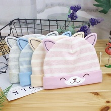 2019 Winter Baby Hats Cartoon Cotton Sweet Hat For Girls Boys Newborn Striped Cat Ear Cap Cute Accessories