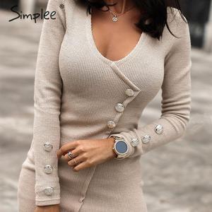 Image 1 - Simplee Oansatz frauen herbst kleid Elegante tasten langarm schwarz bodycon kleid Streetwear damen warme chic mantel mini kleid