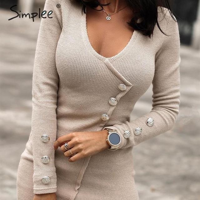 Simplee Oansatz frauen herbst kleid Elegante tasten langarm schwarz bodycon kleid Streetwear damen warme chic mantel mini kleid
