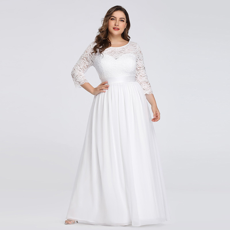 Elegant Lace   Evening     Dress   Quarter Sleeves Empire Formal   Dress   V-Opening Back Plus Size Autumn Style   Evening   Gown 2019