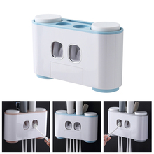 Plastic Toothbrush Holder Automatic Toothpaste Dispenser Squeezer Wall Mounted Bathroom Accessories