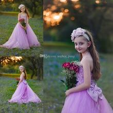 Hot Sale Charming Lilac Lace Girls Pageant Dresses Halter Neck Bow Applique Beaded Christmas Party Gowns Kids Formal Wear new pink baby girls birthday dresses sweep train beaded applique kids formal wear bow flower girls dresses custom made