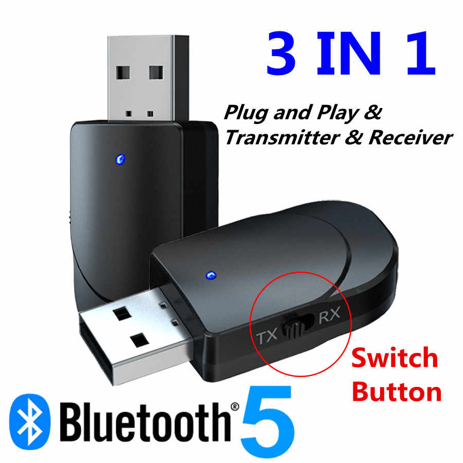 Bluetooth 5.0 Audio Receiver Transmitter 3 In 1 MINI 3.5 Mm Jack Aux USB Musik Stereo Adaptor untuk TV mobil PC Headphone