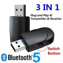 Receptor de Audio Bluetooth 5,0 transmisor 3 en 1 Mini 3,5mm Jack AUX USB estéreo música adaptador inalámbrico para auriculares de coche de TV