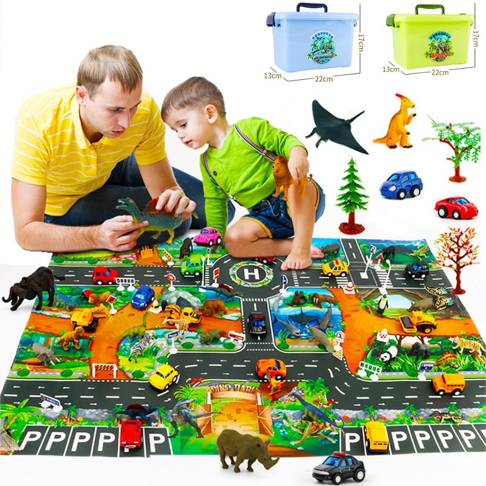 Children's Toy Mat Science And Education Cognition Simulation Model Dinosaur Marine Wildlife World Scene English Game Pad W Box
