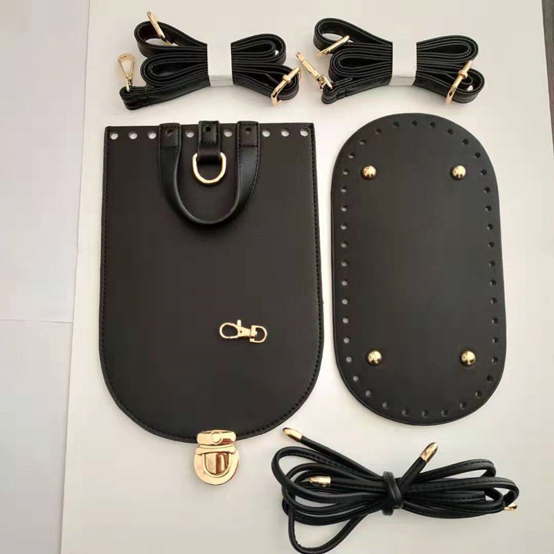 5PCS /Set Handmade Handbag Shoulder Strap Woven Bag Set Leather Bag Bottoms With Hardware Accessories For DIY Bag Backpack