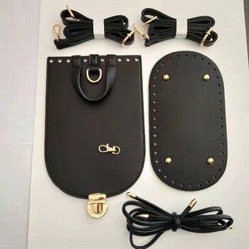 5PCS /Set Handmade Handbag Shoulder Strap Woven Bag Set Leather Bottoms With Hardware Accessories for DIY Backpack