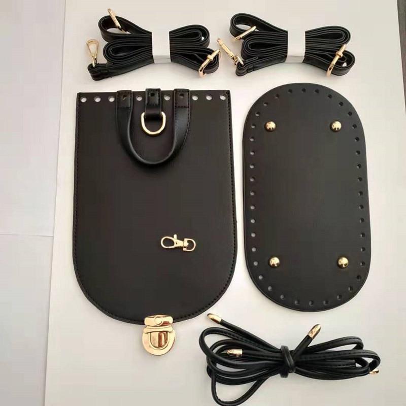 7PCS /Set Handmade Handbag Shoulder Strap Woven Bag Set Leather Bag Bottoms With Hardware Accessories For DIY Bag Backpack