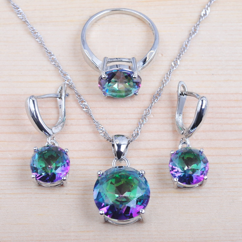 Wedding Jewelry Sets Crystal Wedding Set For Women Silver 925 Cubic Zirconia Ring Necklace And Earrings Set QZ0368