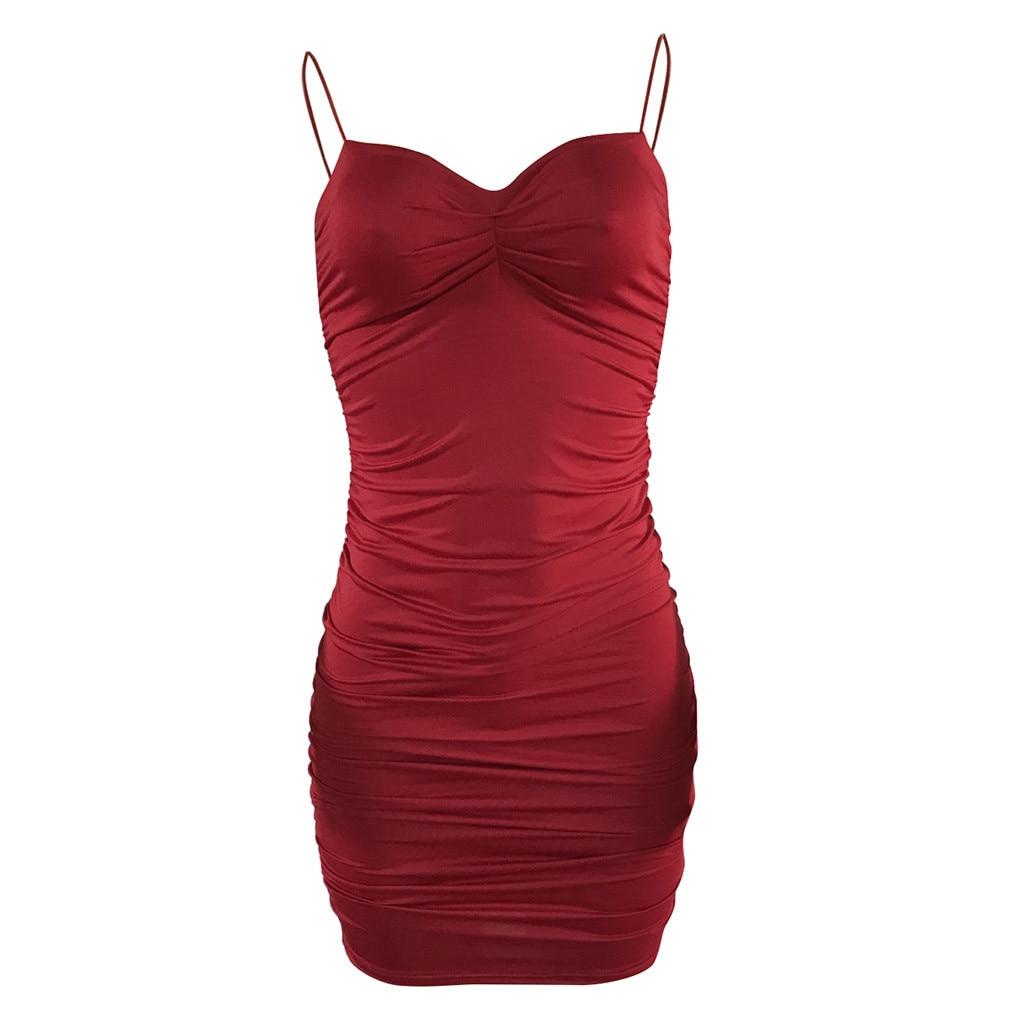 Summer Dress Women Sleeveless Bandeau Camisole Solid Mini Dress Bodycon Dress femme robe sukienki jurken