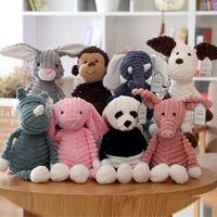 Coarse Striped Animal Plush Doll Bag Pendant Keychains Stuffed Toys Car Buckle X5XE
