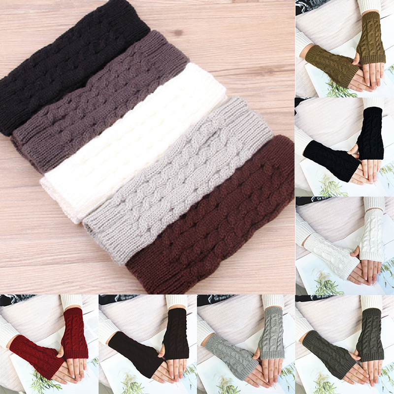 Women Men Twist Crochet Knitted Fingerless Gloves Hand Warmer Winter Gloves Short Arm Sleeve Warm Solid Color Mittens Hot Sale