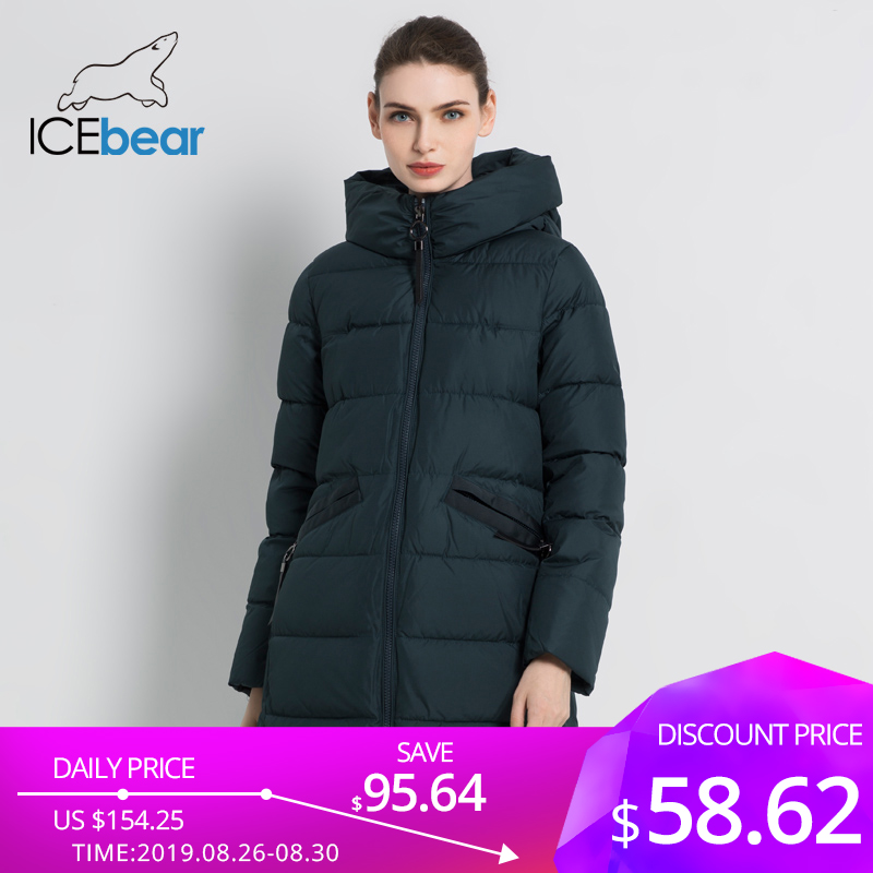 ICEbear 2019 New Women's Winter Coat Fashion Woman Jacket Female Cotton Jackets Hooded Ladies Coat Warm Brand Clothing GWD18203I
