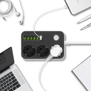 Image 5 - Dán Cường Lực Chống Sét Bảo Vệ 3 Phích Cắm EU Ổ Cắm Ổ Điện Có Cổng USB 6 Cổng Adapter Sạc Dock 5V 3.4A 1.6ft Dây Nối Dài