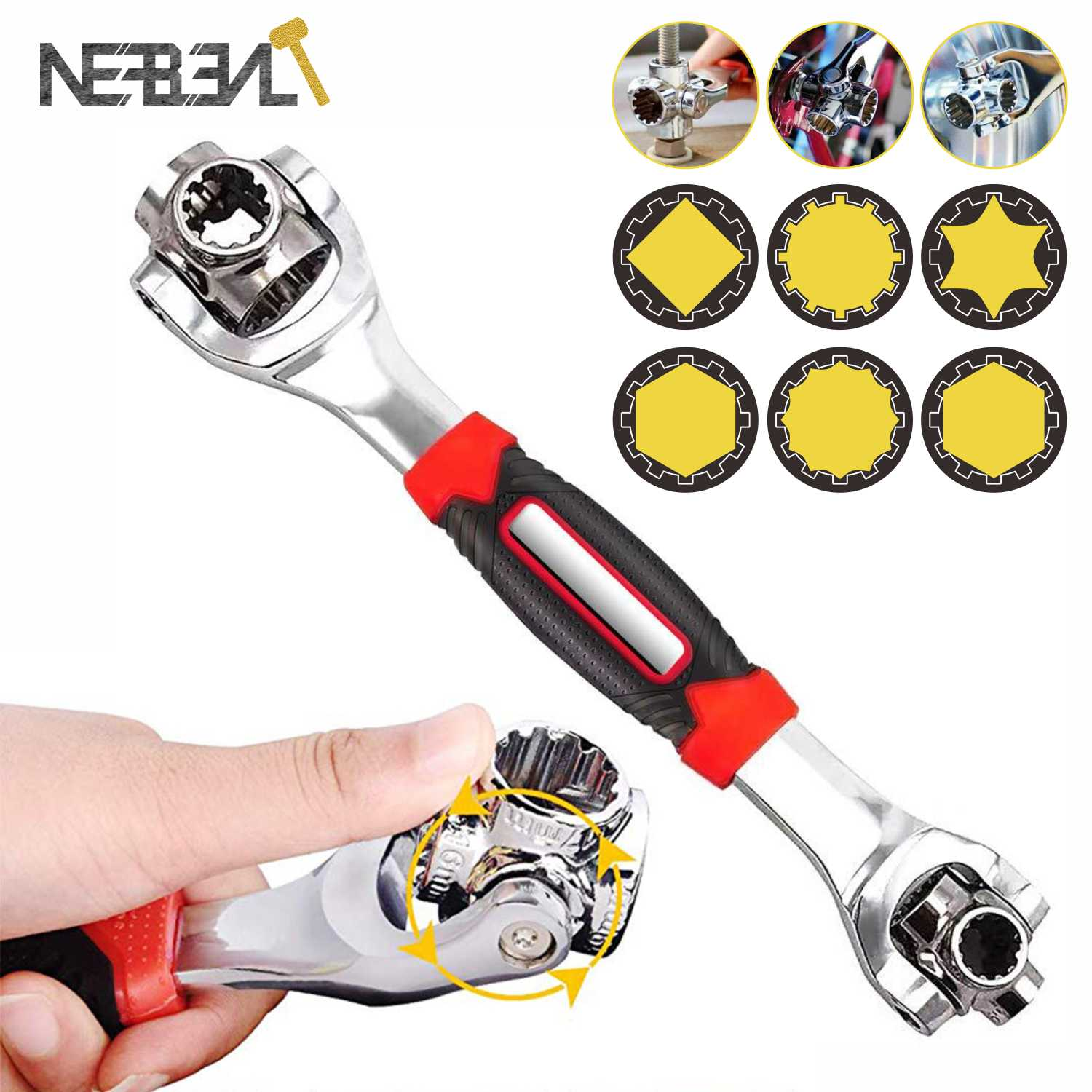 48-in-1 Tiger Wrench Hand Tools Socket Works with Spline Bolts 360 Degree 6-Point Universial Furniture Car Repair Spanner