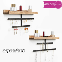 2pcs Jewelry Organizer Wall Mount Hanging Wood Jewelry Display with Shelf for Necklaces Bracelet Earrings Ring and Cosmetic
