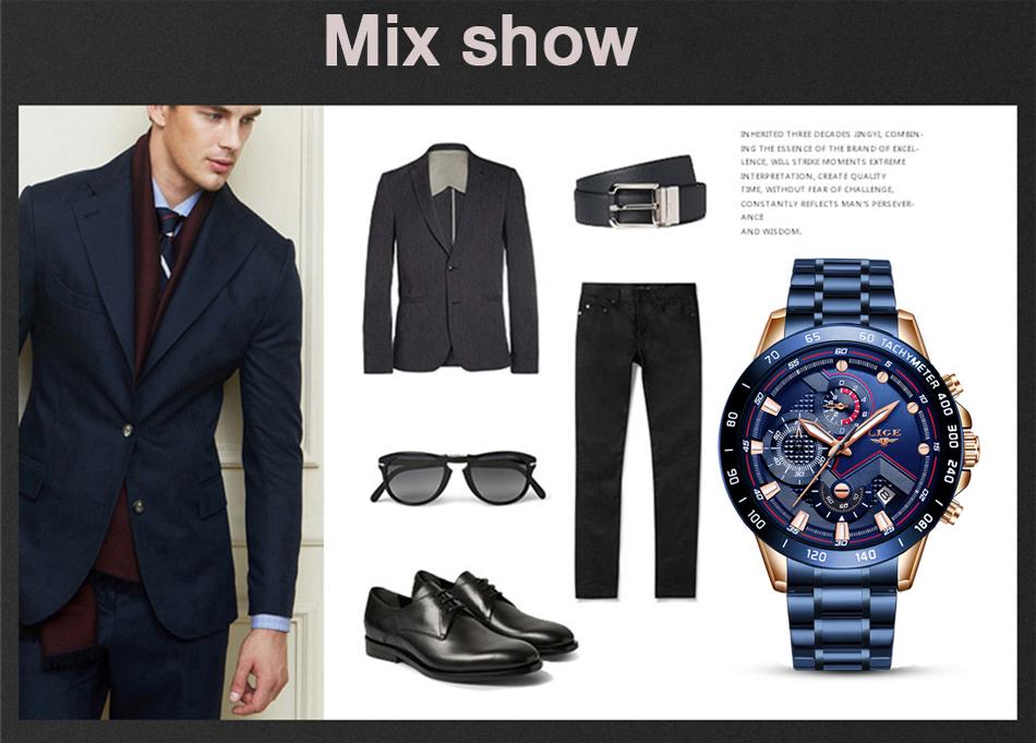 LIGE 2020 nuevos relojes de moda para hombre con Acero Inoxidable marca superior de lujo deportes cronógrafo reloj de cuarzo hombres Relogio Masculino 11