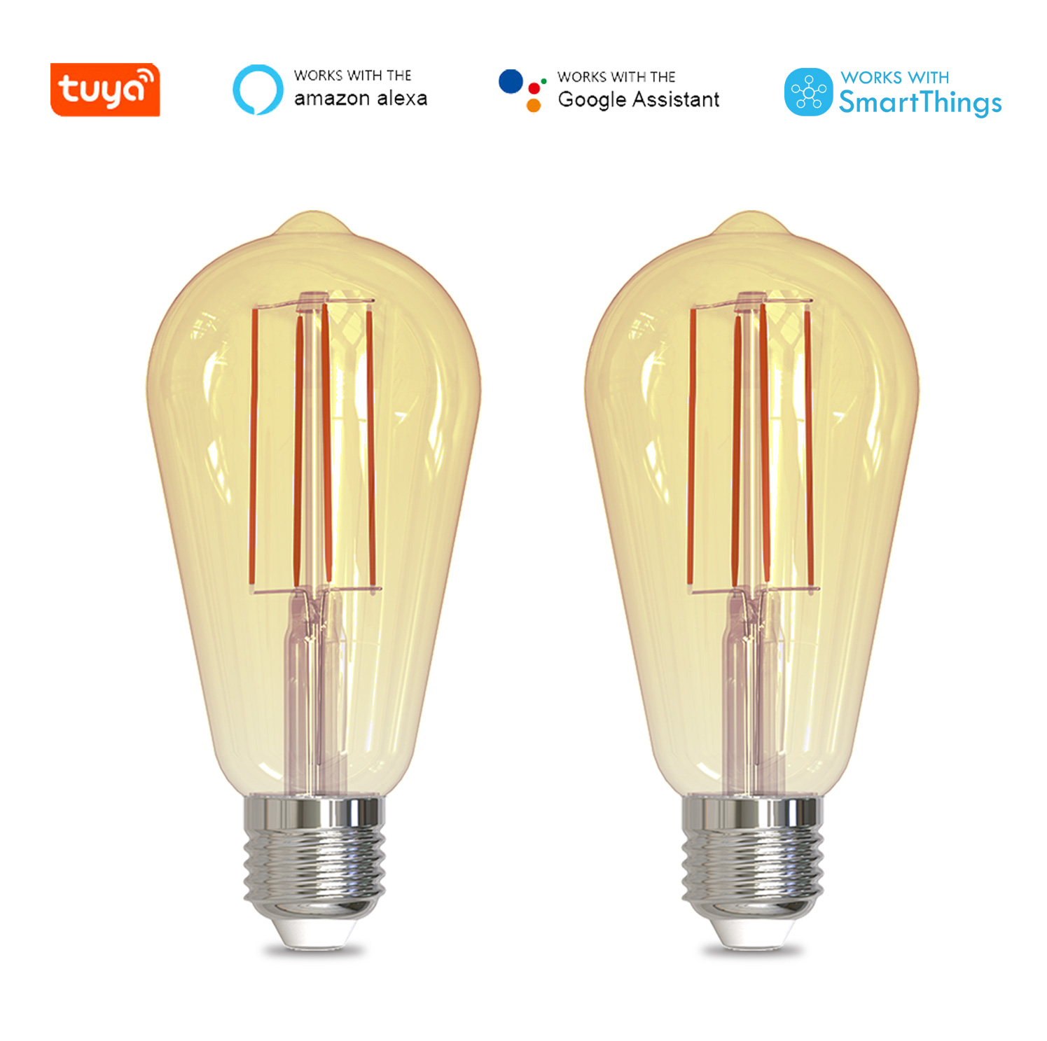 Tuya 2 Pack ST64 Smart WiFi LED Filament Bulb E27 Dimmable Light Lamp Dual Color APP Remote Control Work with Alexa Google