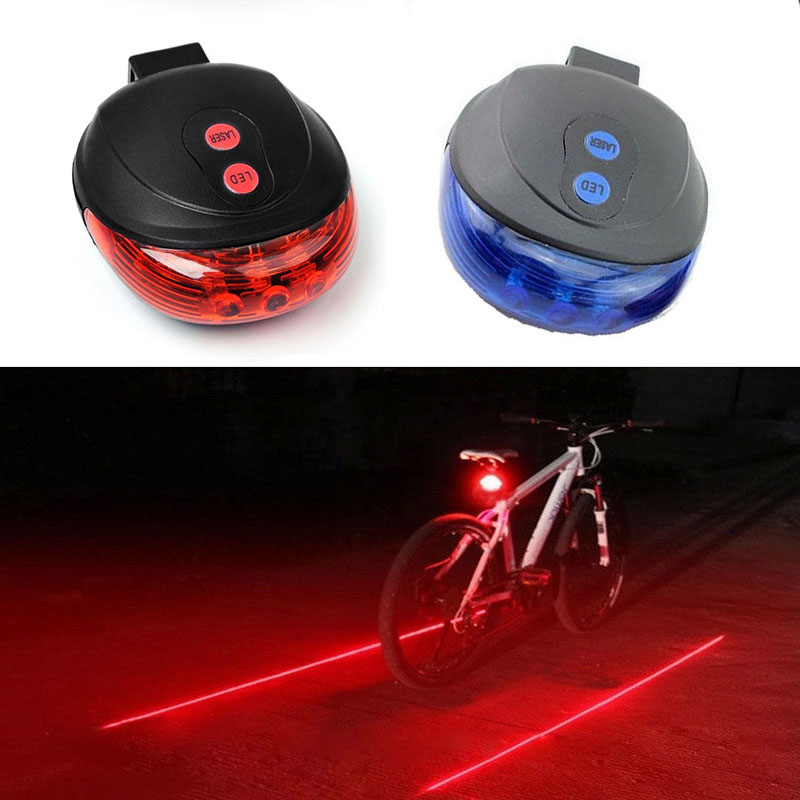 Bicycle 5 LED Rear Tail Light Cycling Bike 2 Laser Projector Lamp Beam No Battey