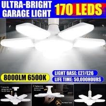 80W Deformable iluminación Industrial E27 Led ventilador Luz de garaje Super brillante 6000LM 2835 Led campana montaje alto Industrial lámpara para taller