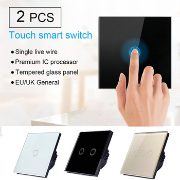 wallpad k3 capacitive 1 gang 2 way intermediate touch on off 4 colors glass panel wall electrical light switch for uk eu 2pcs/set EU/UK Standard 1/2/3 Gang 1 Way Crystal Glass Panel Smart Switch Contorl Home Light Touch Screen Switch Panel New