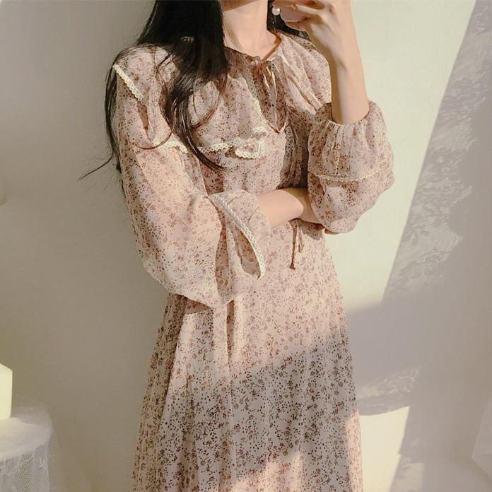 H0189452a18054edd816b62c29d1a1719T - Autumn Puritan Collar Long Sleeves Chiffon Floral Print Lace-Up Slim Midi Dress