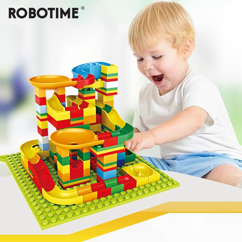 140 PCS Diy Marble Race Run Duploed Block Compatible Building Blocks Funnel Slide Blocks Assemble Toys For Children